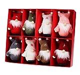 Weihnachtswichtel aus Holz 8-teiliges Set in Geschenkbox, 9 cm Baumanhänger...