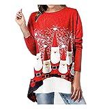 LOPILY Weihnachtspullover Damen Zweilagige Weihnachtspullis mit Santa Claus Druck Lustig...