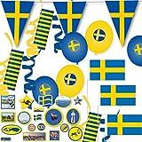 121-teiliges Deko-Set * SCHWEDEN - BLAU-GELB * für eine tolle Länder-Party mit...